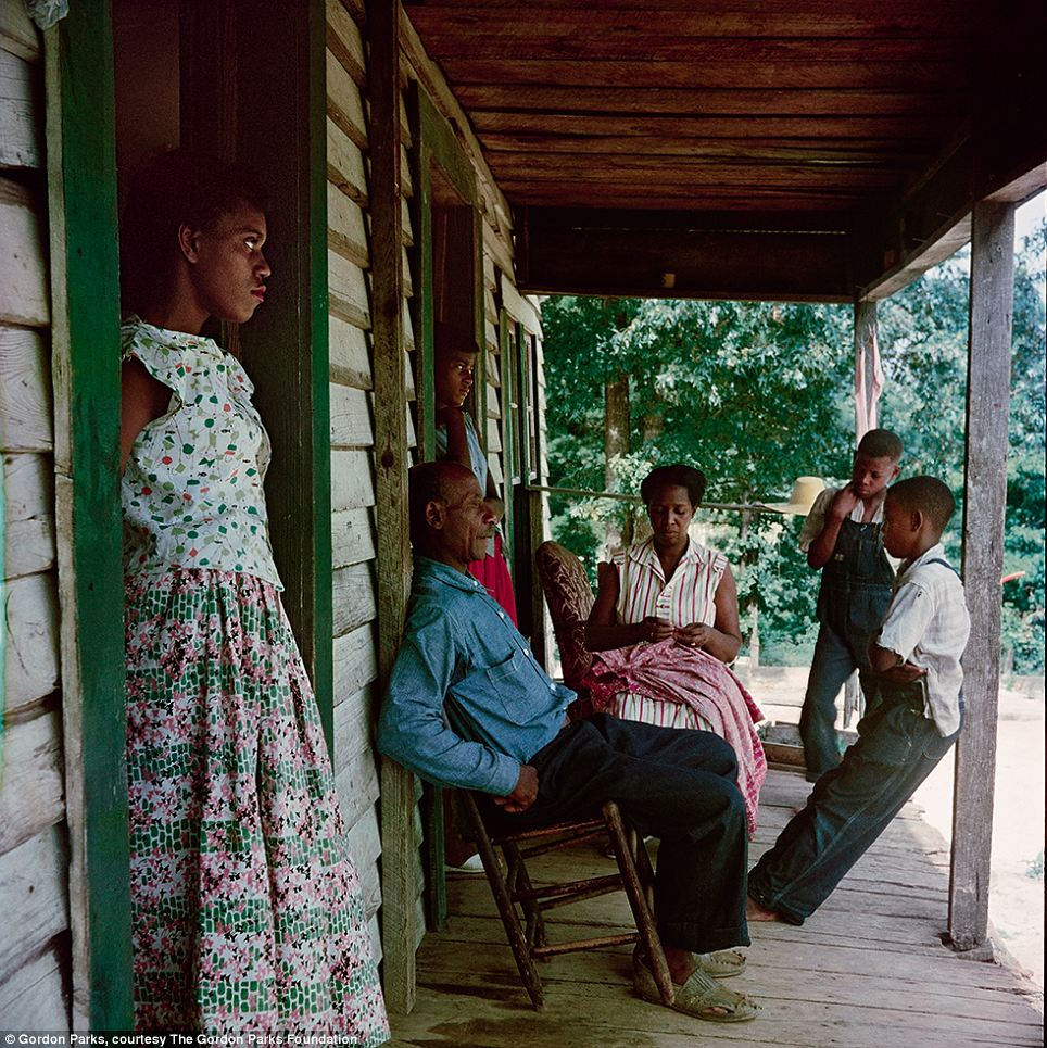 The photographer, Gordon Parks, was himself born into poverty and segregation in Fort Scott, Kansas, in 1912. Initially working as an itinerant laborer he also worked as a brothel pianist and a railcar porter before buying a camera at a pawnshop