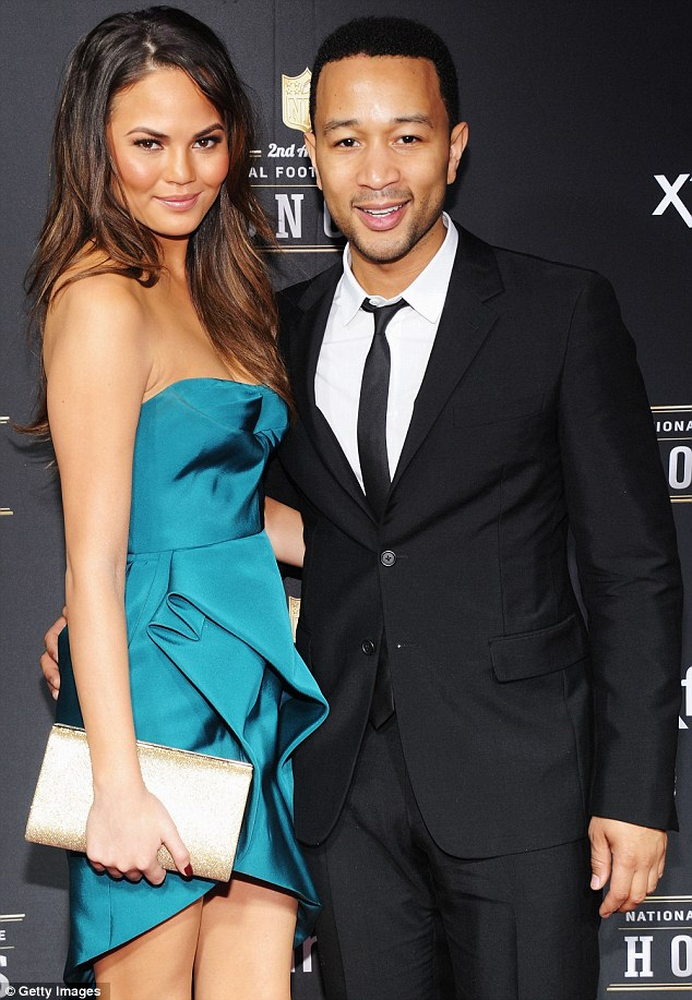 5c08c7be07 Awkward! Chrissy Teigen and Hilaria Thomas grace the NFL Honors red carpet  in the SAME dress…
