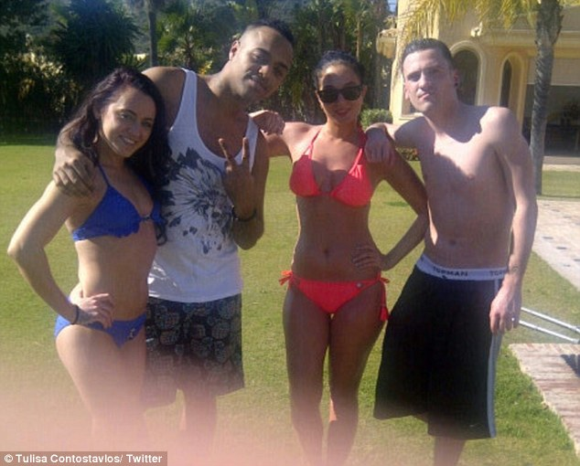 Fun in the sun: Tulisa is making the most of her sun-filled mini-break with her friends
