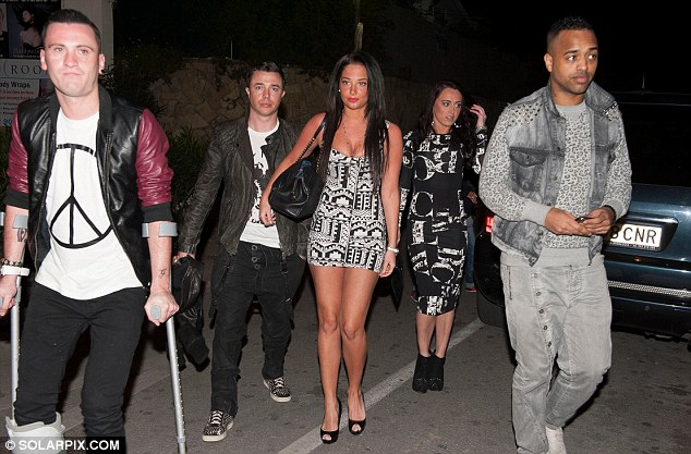 Mini break: Tulisa was joined by her pals in Marbella, but boyfriend Danny Simpson was nowhere to be seen