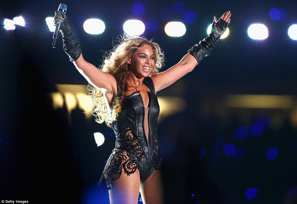 Victory salute! Beyonce was clearly pumped up during her energetic performance at the Mercedes-Benz Superdome and held her hands aloft to her fans