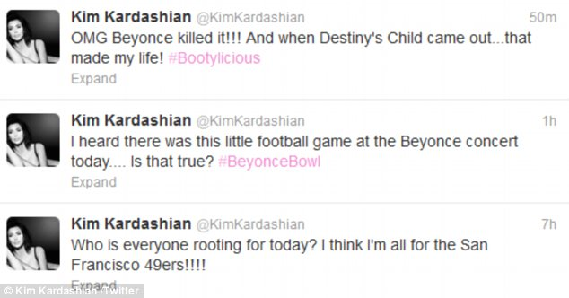 Beyonce Bowl: Kim tweeted her excitement after watching Beyonce and Destiny's Child's show-stopping halftime performance