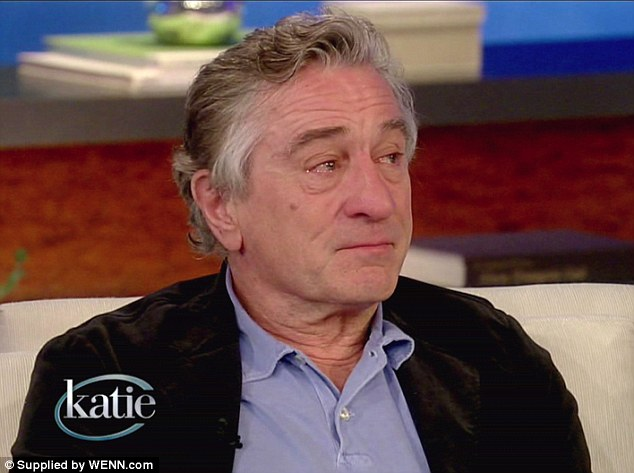 Still emotional: Robert De Niro teared up while talking to Katie Monday about playing the father of a son who suffers from bi-polar disorder in Silver Linings Playbook