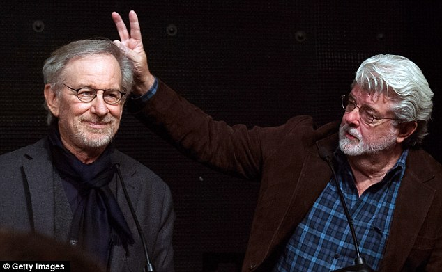 Photo-bombed! George Lucas couldn't resist a chance to rib his old friend and university pal Steven Spielberg