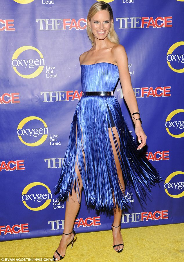She's a vision: Karolina Kurkova was an arresting sight in a blue fringed dress at the premiere of her new show The Face on Tuesday in New York