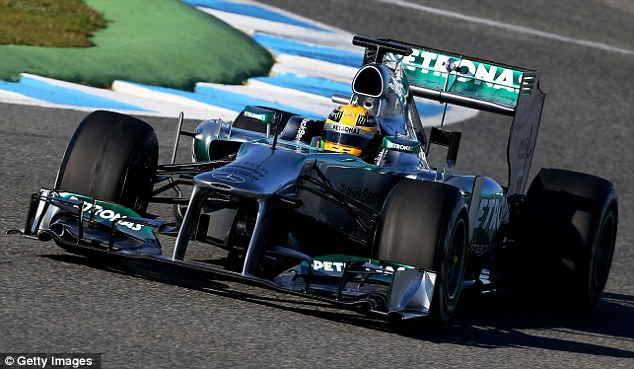 On track: The Mercedes new boy managed to complete just 14 laps before the incident