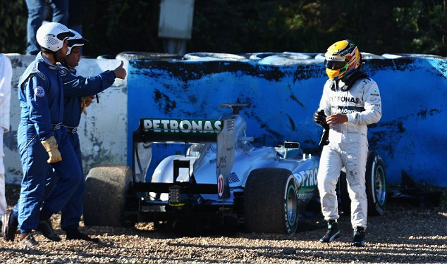 Blow: Lewis Hamilton lost control of his Mercedes after just 14 laps of testing in Jerez