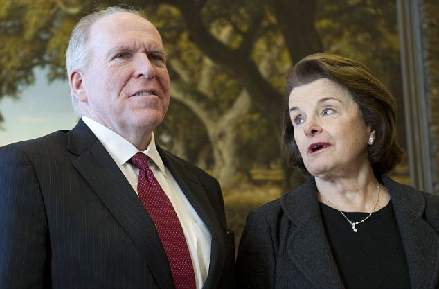 Time to talk: The hearing on Thursday will be lead by Senator Dianne Feinstein (right) and Brennan (left) will have to answer some legal questions about the use of drones
