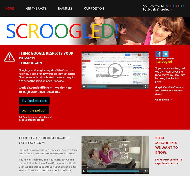 Scroogled! Microsoft's website to accompany its latest campaign taking a swipe at Google for its policy of scanning Gmail users' emails to target adverts