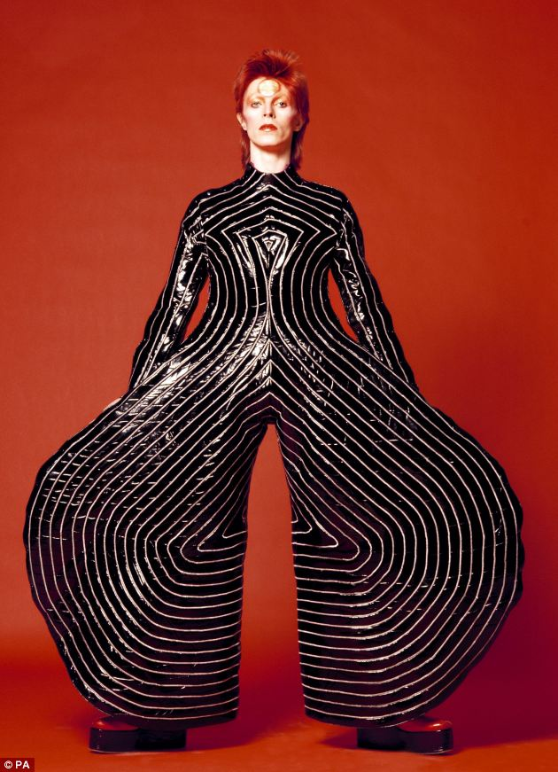 Outrageous: Japanese designer Kansai Yamamoto designed this striped vuinyl bodysuit for the singer