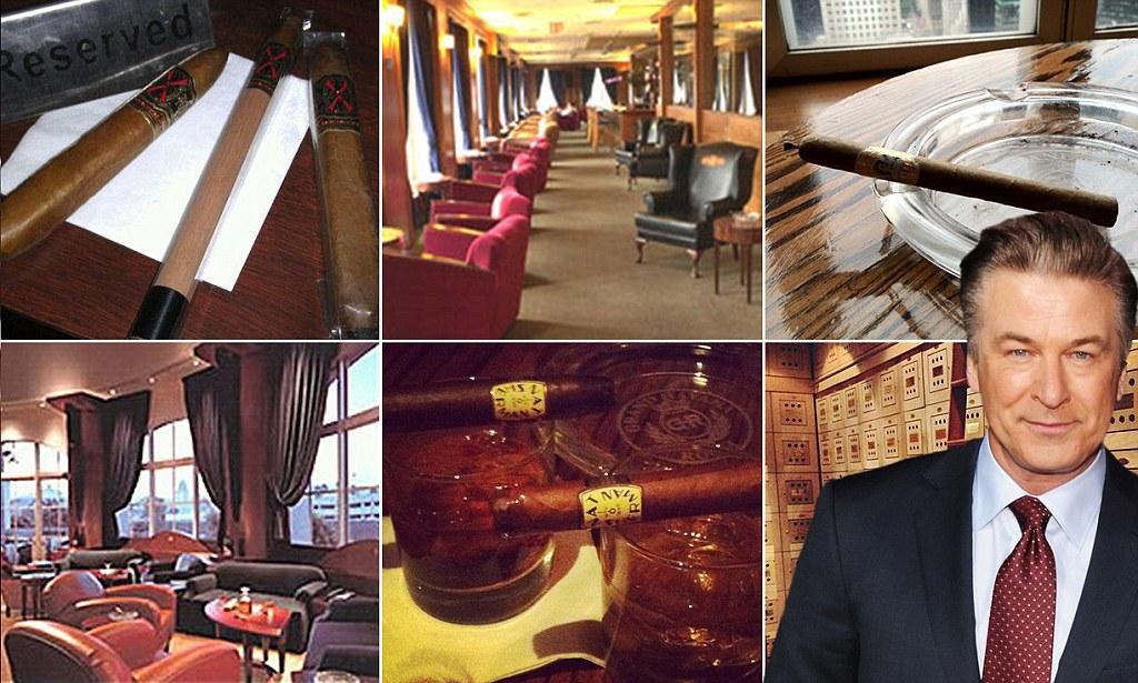 Grand Havana Room cigar club in Manhattan and Alec Baldwin