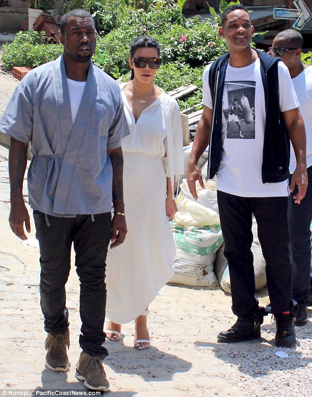 Who knew they were friends?: Kim Kardashian and Kanye West went sightseeing together in Rio de Janeiro on Sunday