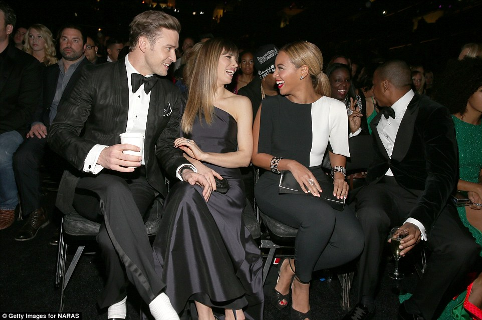 Front row fashion: Justin was in head-to-toe Tom Ford, Jessica was in a one-shouldered Oscar de la Renta, and Beyonce wore a b&w Osman crepe pantsuit