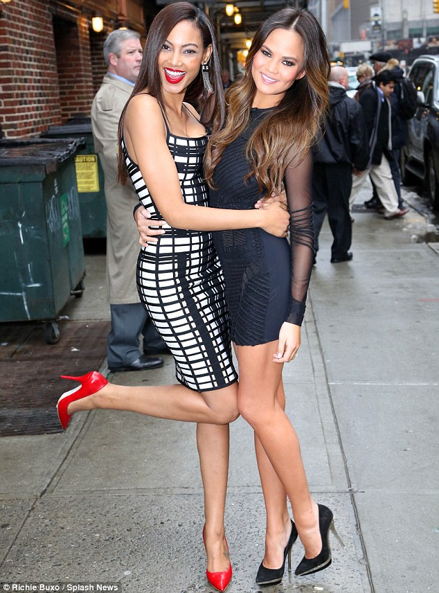 Girls just wanna have fun: Chrissy posed for snaps with model Ariel Meredith
