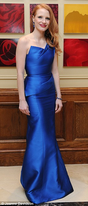 Party time: Anne was joined at the star-studded afterparty by fellow Hollywood leading ladies Jessica Chastain and Amy Adams