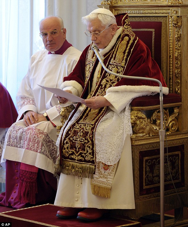 Shock decision: Pope Benedict XVI announces his resignation during a meeting of Vatican cardinals today