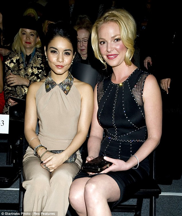 Fashionistas: Vanessa Hudgens and Katherine Heigl - separated by a decade and eight inches - looked a tad awkward when posing side-by-side at the Jenny Packham runway show in New York Tuesday