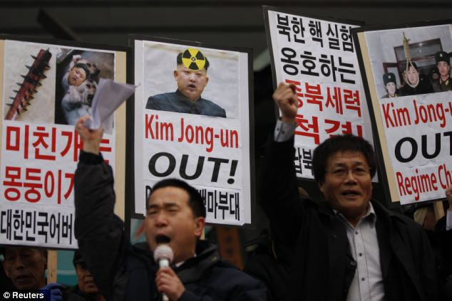 Protest: Activists from anti-North Korea civic group chant slogans during a rally against North Korea's nuclear test near the U.S. embassy in central Seoul