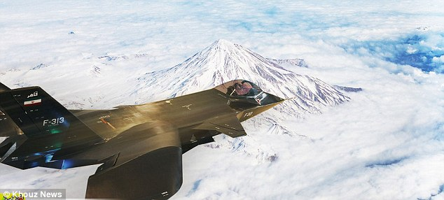 Doctored? Iran faced accusations that its much-heralded new fighter jet could even fly and that this picture of it soaring over mountains had been superimposed in Photoshop