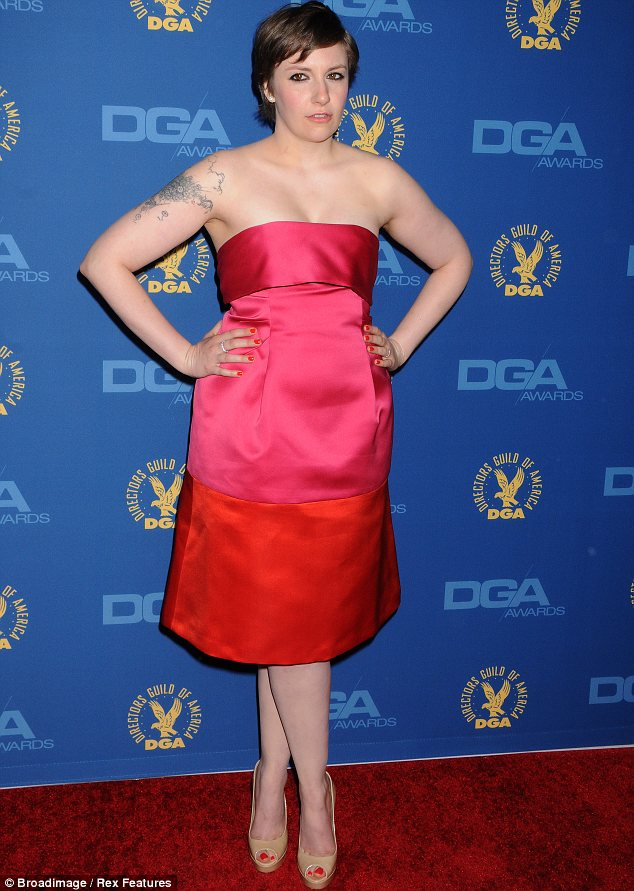 Vibrant: Lena Dunham won the TV comedy directing prize from the Directors Guild of America in a custom-made hot pink and orange Thakoon dress with open toed Jimmy Choo shoes.