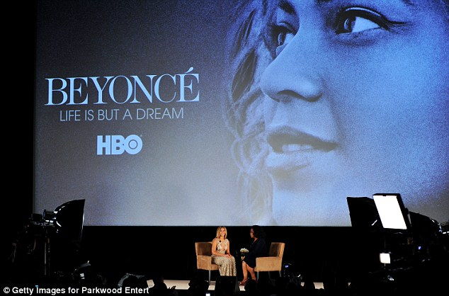 On stage: Beyonce sat down with Oprah to discuss her new documentary