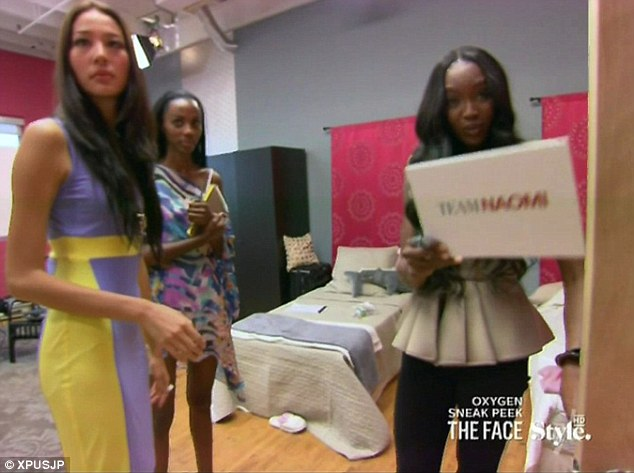 Temper flare-up: Naomi loses her cool and tries to get the camera out of her face after one of her team are eliminated