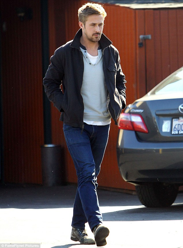 Mr casual: Ryan Gosling was spotted dressed down while having lunch in Studio City