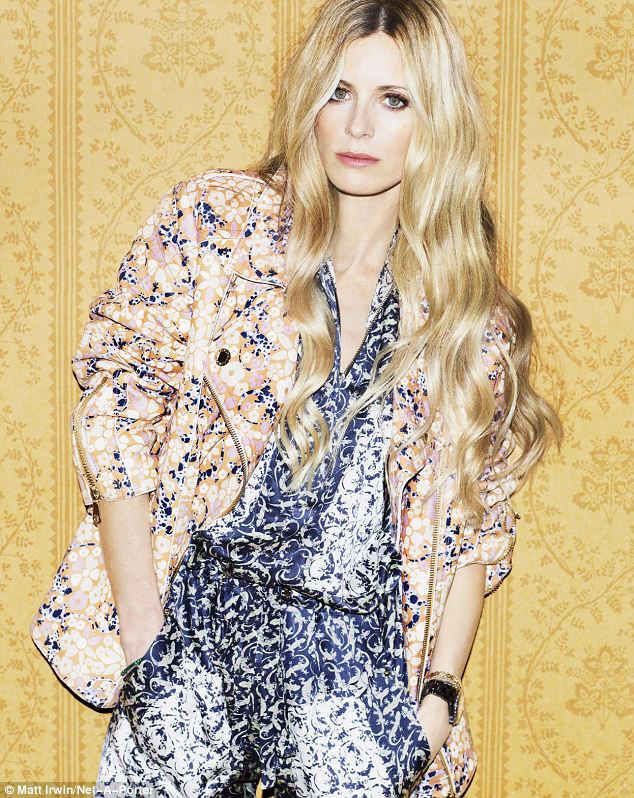 Laura Bailey wears jacket and jumpsuit by Mulberry