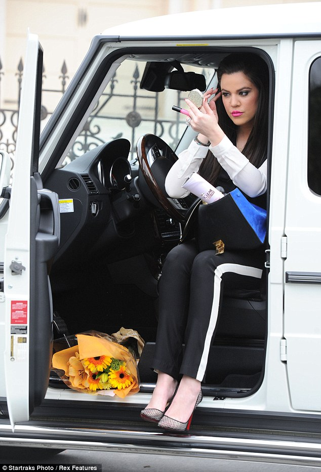 Spot check: Khloe made sure that she was looking her best after running errands around town