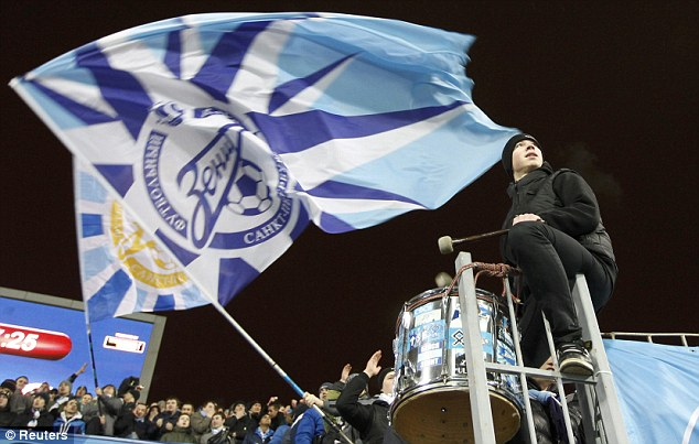 Hostile: Zenit fans dominated the pre-match talk but they were happy with what they saw from their team