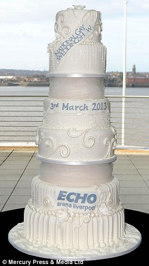 Record-breaking: The £32 million cake was unveiled ahead of the National Gay Wedding Show in Liverpool