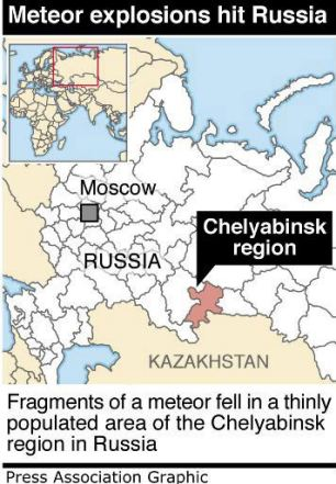 Graphic locates Russia where fragments of a meteor fell in a thinly populated area