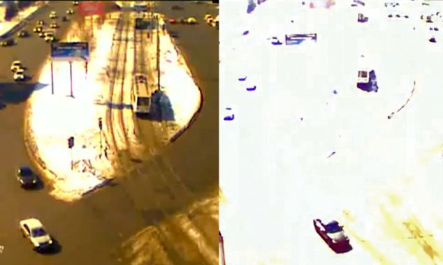 Before and after: A video showed a street scene in Russia before the meteorite shower struck. Seconds later the street was lit up in a haze of bright white as the large fireball exploded