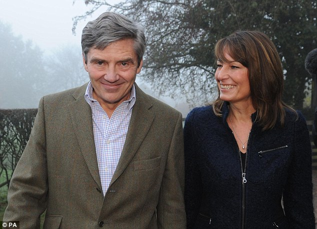 Carole Middleton and her husband Michael on the day their daughter's engagement was announced. The family cut ties with Mr Goldsmith after the drug scandal