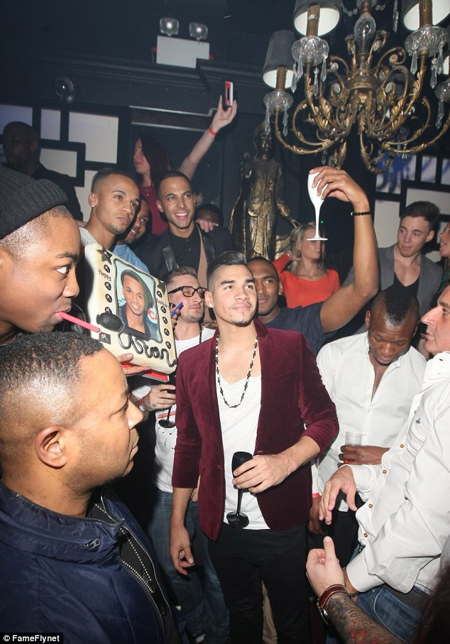 Lad's night: The JLS star was joined by his bandmate Marvin Humes and old friend Louis Smith, the Olympic gymnast
