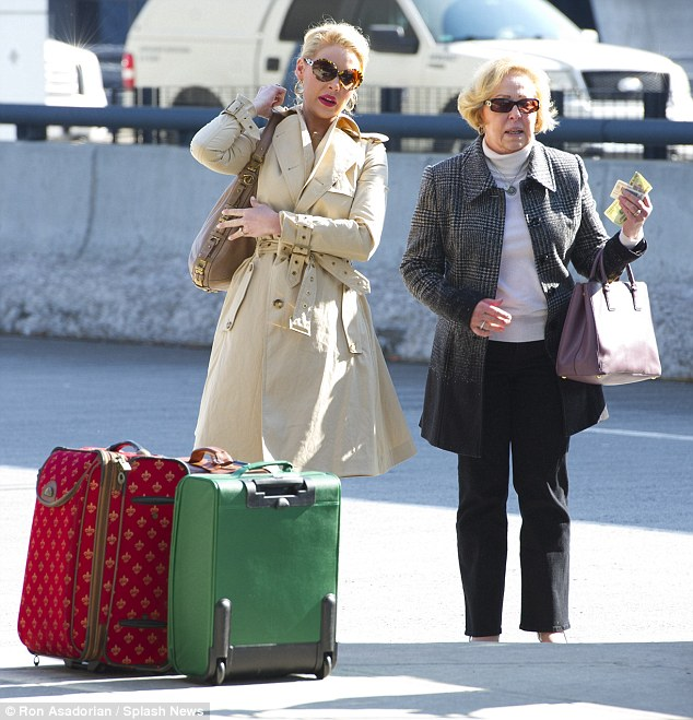 Jetting in: Katherine arrived back in LA with her mother Nancy on Thursday