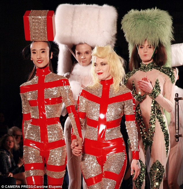 Definitely not a shrinking violet! A catsuited Pam Hogg appeared on the catwalk after the show