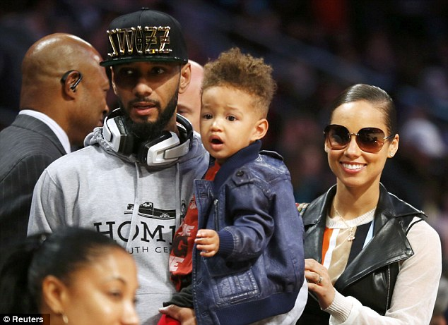 Family time: Alicia Keys, her husband Swizz Beatz and their son Egypt Daoud Dean arrive at skills competition during the NBA basketball All-Star weekend in Houston Texas on Saturday