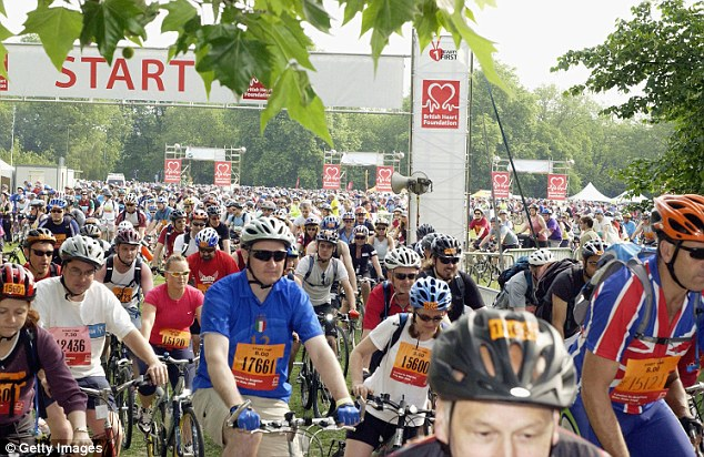 Get fit: The British Heart Foundation is calling for entrants to its iconic 54-mile charity cycle ride in June