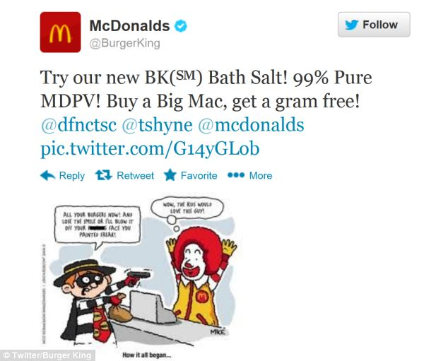 From the hacked Burger King account, posts such as this one have been posted today, promoting McDonald's food