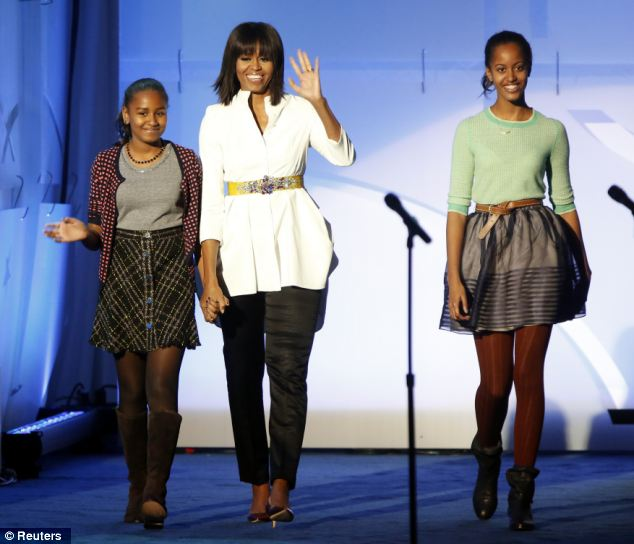 Girls' trip: The Obama girls, pictured in January, took private ski lessons on beginner slopes over the weekend