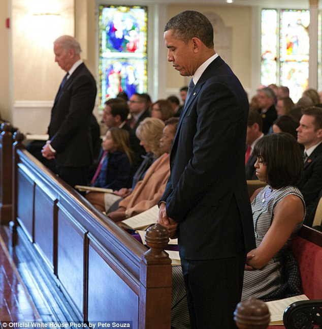 Moment of reflection: An image taken St John's Church in Washington during the inaugural prayer service