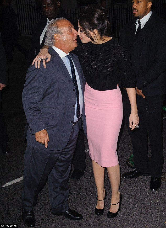 Welcome! Sir Philip Green planted a kiss straight on Daisy's cheek as she arrived at the event at the same time as him