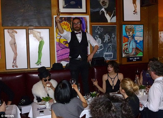 Cheers! Yoko's son Sean Lennon raised a toast to his mother during the dinner party
