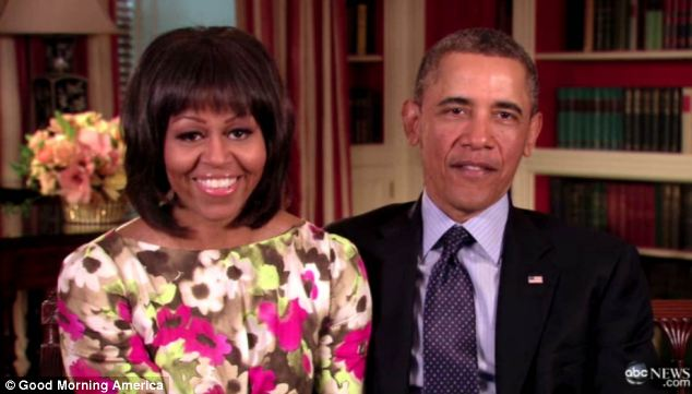 Welcome message: Michelle and President Obama passed on their best wishes to Roberts in a video