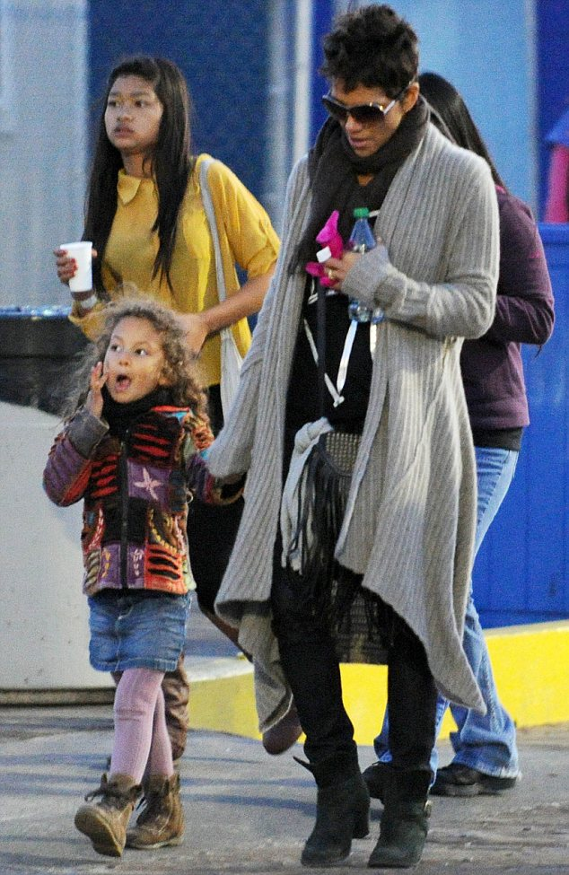 All the fun of the fair: Halle Berry spent her Tuesday evening taking daughter Nahla to Santa Monica pier