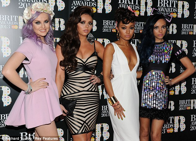 Glamour girls: Little Mix went for an update with their designer addresses at the Brit Awards in London on Wednesday night