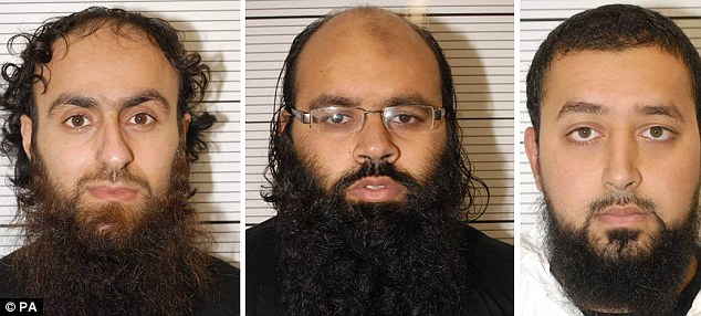 Guilty: (left to right) Irfan Khalid, Irfan Naseer and Ashik Ali, all from Birmingham, were today found guilty at Woolwich Crown Court of being 'central figures' in a giant terrorist bomb plotThree young British Muslims plotted attack 'bigger than 7/7' in Al Qaeda-backed atrocity in shopping centres and stations with team of eight suicide bombers after terror training in Pakistan.
