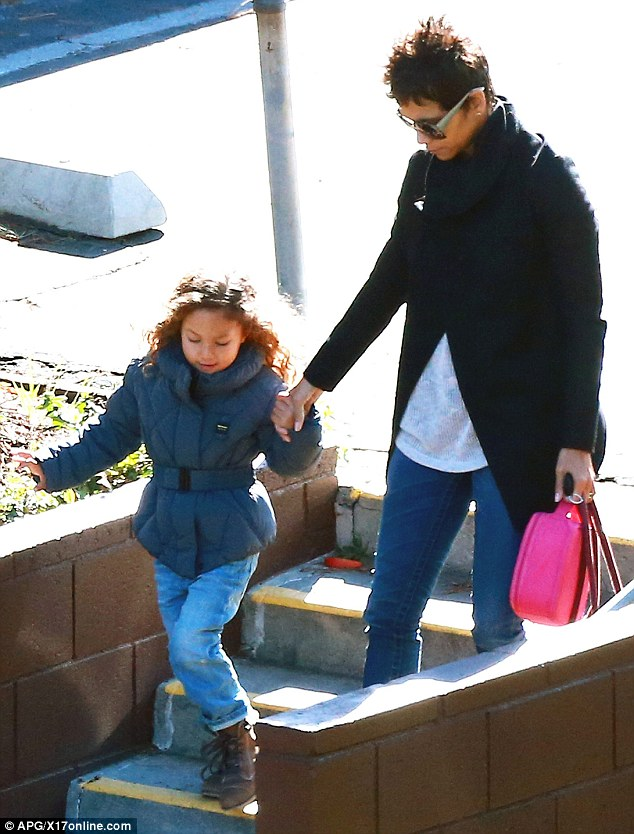 The next morning: Halle takes Nahla to school on Wednesday in Studio City, CA