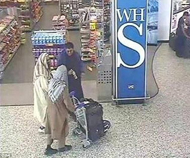 so called British Muslims wanted to kill innocent people. Training camps: Khalid and Naseer (pictured with the trolley) were caught on CCTV going back and forth to Pakistan from Birmingham Airport to receive instruction on plotting their attack on Britain